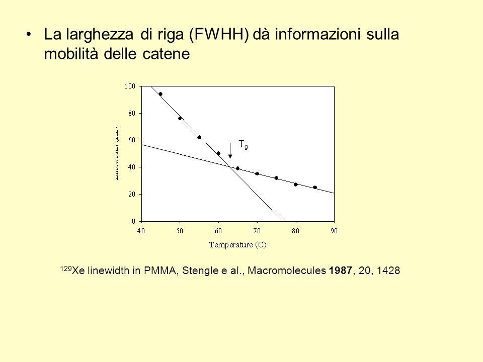 La larghezza di riga (FWHH) dà informazioni sulla mobilità delle catene