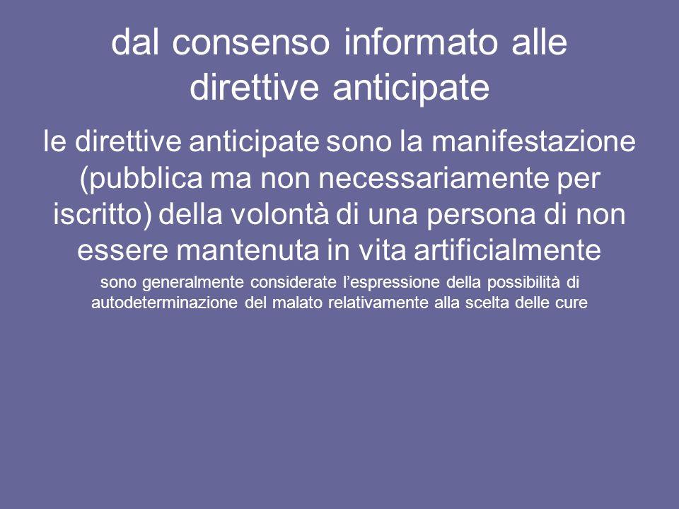 dal consenso informato alle direttive anticipate