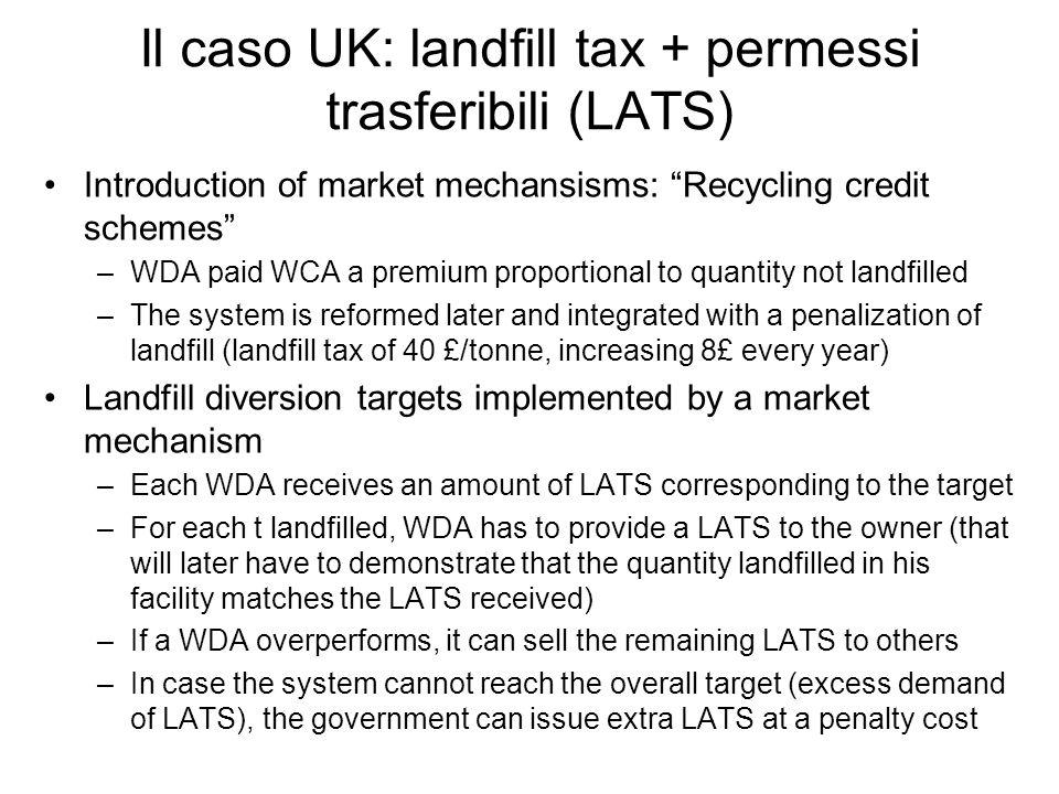 Il caso UK: landfill tax + permessi trasferibili (LATS)