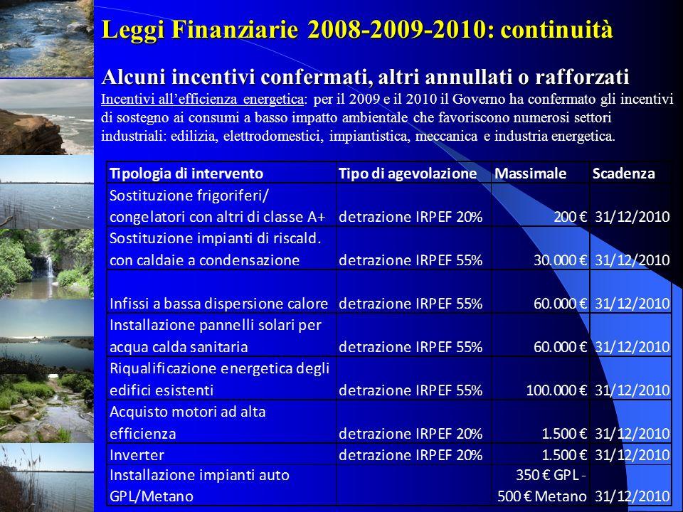 Leggi Finanziarie 2008-2009-2010: continuità