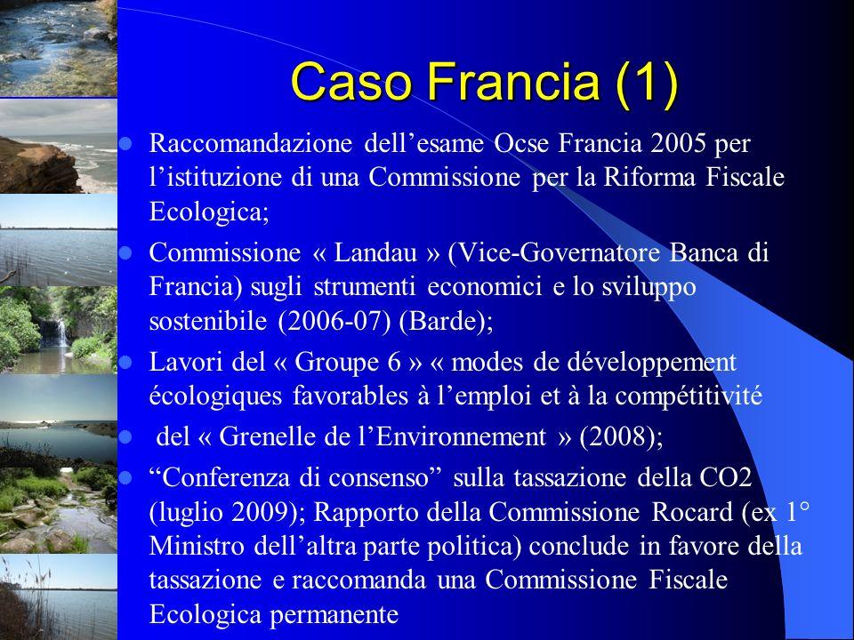 Caso Francia (1)Raccomandazione dell'esame Ocse Francia 2005 per l'istituzione di una Commissione per la Riforma Fiscale Ecologica;