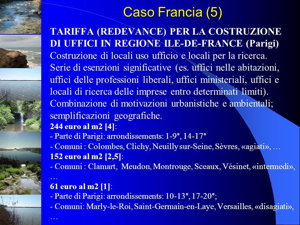 Caso Francia (5) TARIFFA (REDEVANCE) PER LA COSTRUZIONE