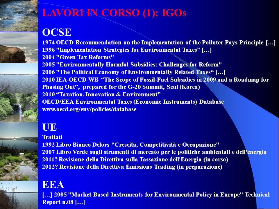 LAVORI IN CORSO (1): IGOs OCSE