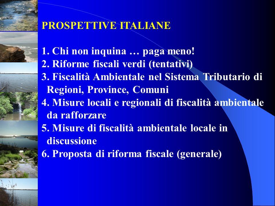 PROSPETTIVE ITALIANE 1. Chi non inquina … paga meno! 2. Riforme fiscali verdi (tentativi)