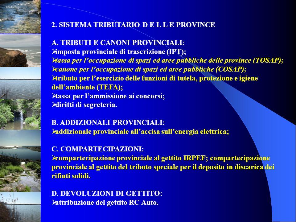 2. SISTEMA TRIBUTARIO D E L L E PROVINCE