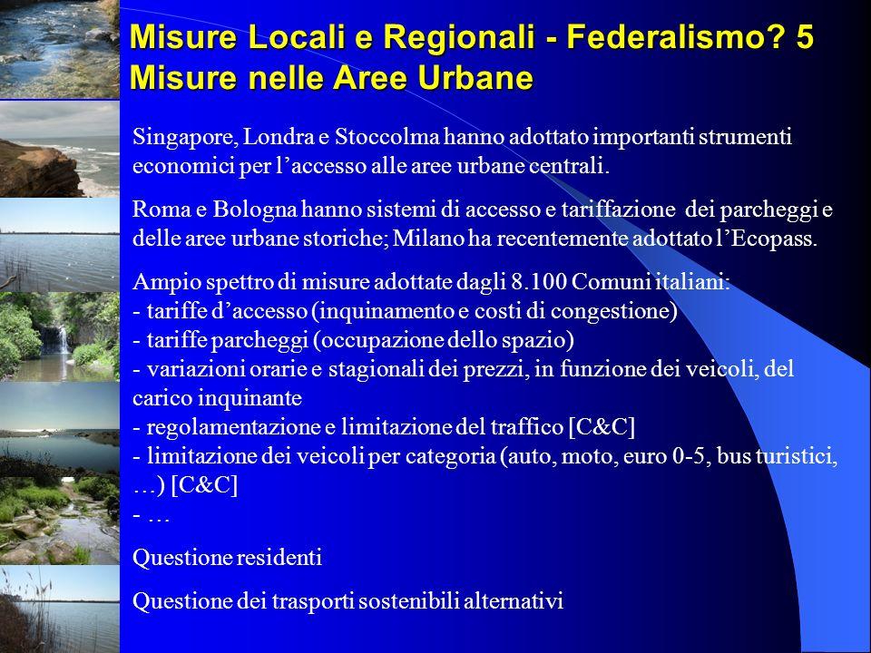 Misure Locali e Regionali - Federalismo 5 Misure nelle Aree Urbane