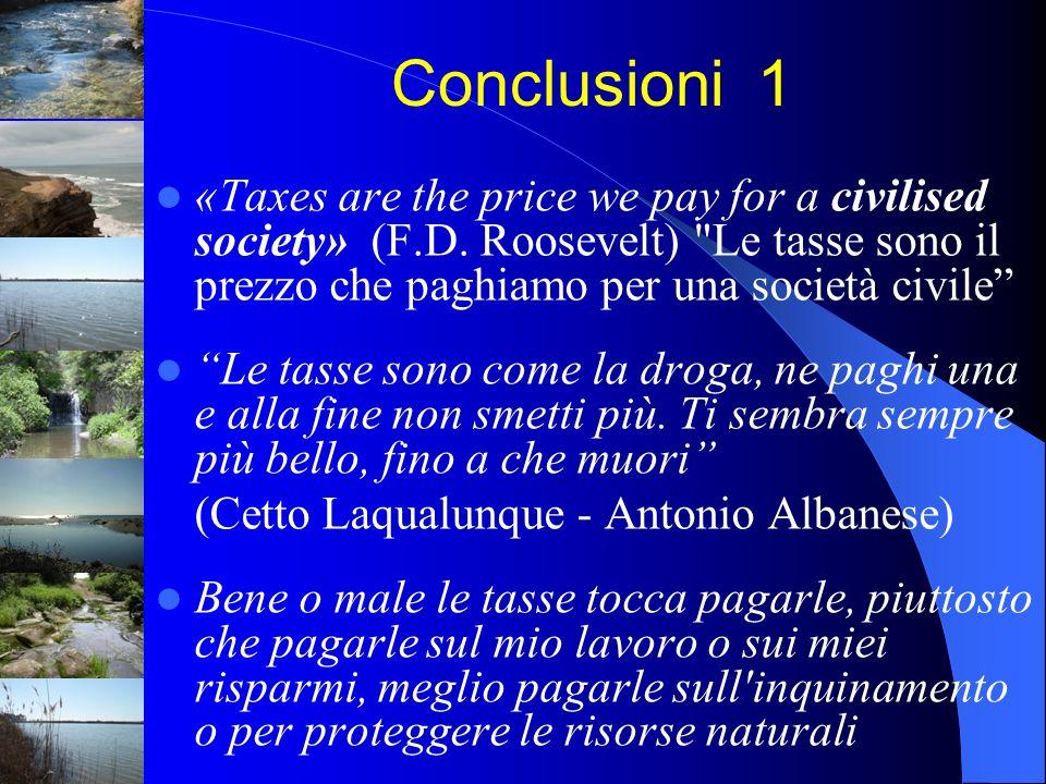 Conclusioni 1«Taxes are the price we pay for a civilised society» (F.D. Roosevelt) Le tasse sono il prezzo che paghiamo per una società civile