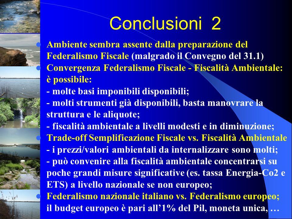 Conclusioni 2 Ambiente sembra assente dalla preparazione del Federalismo Fiscale (malgrado il Convegno del 31.1)