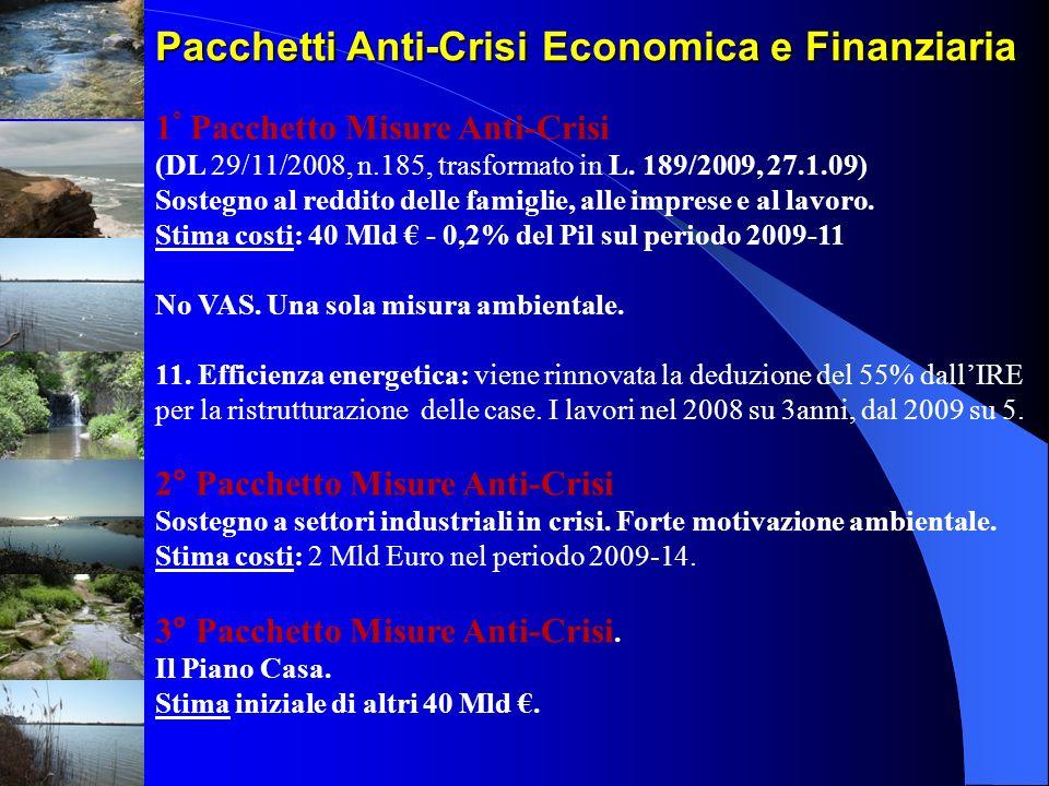 Pacchetti Anti-Crisi Economica e Finanziaria