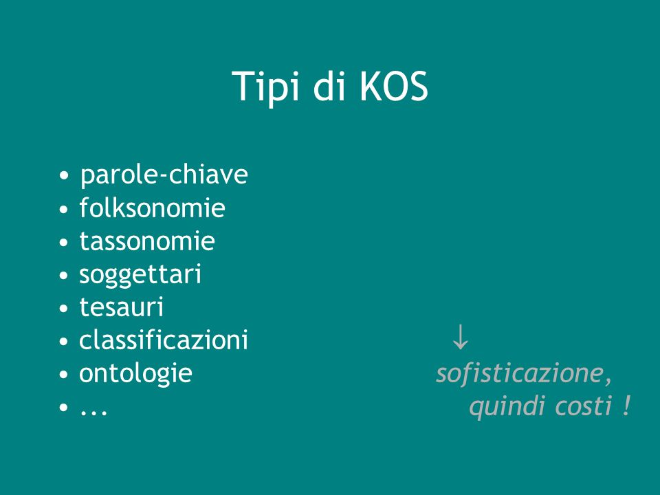 Tipi di KOS parole-chiave folksonomie tassonomie soggettari tesauri