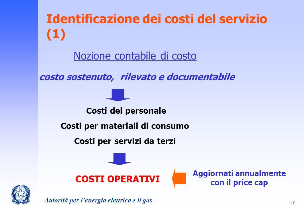 Identificazione dei costi del servizio (1)
