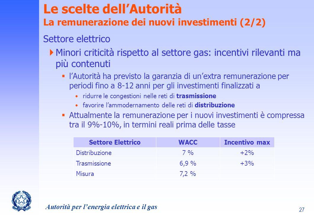 Le scelte dell'Autorità La remunerazione dei nuovi investimenti (2/2)