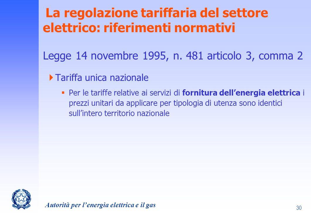 La regolazione tariffaria del settore elettrico: riferimenti normativi