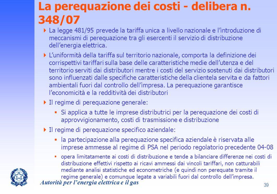 La perequazione dei costi - delibera n. 348/07