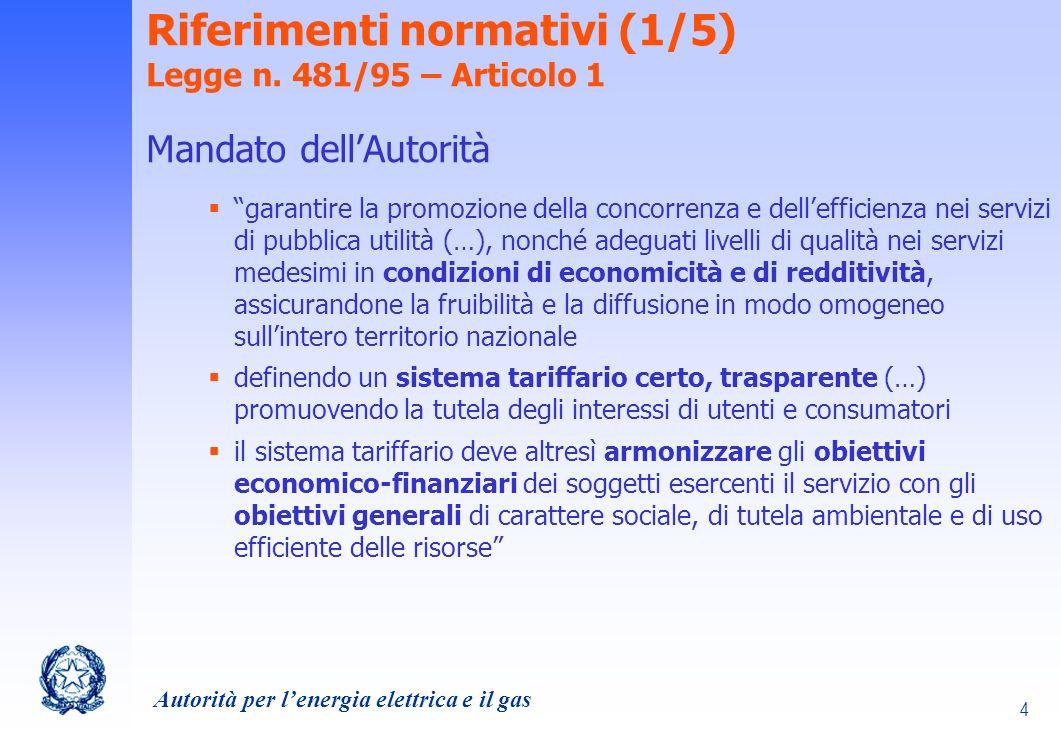 Riferimenti normativi (1/5) Legge n. 481/95 – Articolo 1