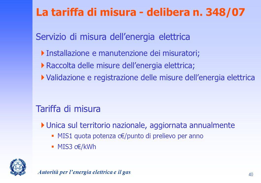 La tariffa di misura - delibera n. 348/07