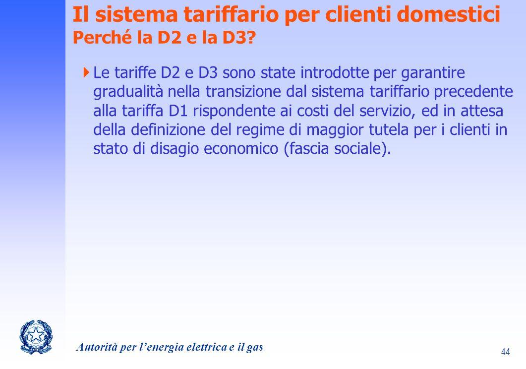 Il sistema tariffario per clienti domestici Perché la D2 e la D3