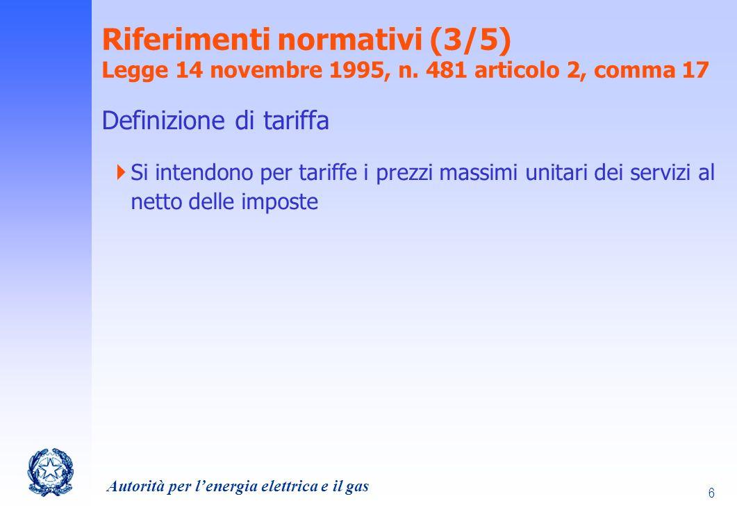 Riferimenti normativi (3/5) Legge 14 novembre 1995, n