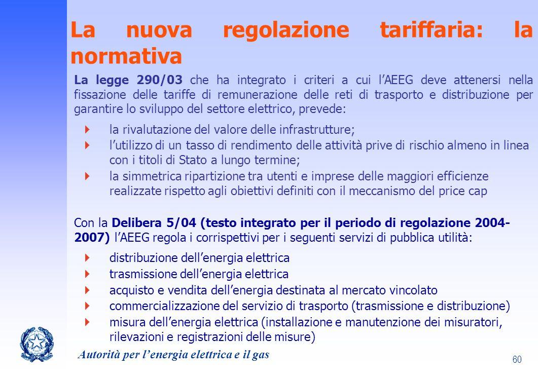 La nuova regolazione tariffaria: la normativa