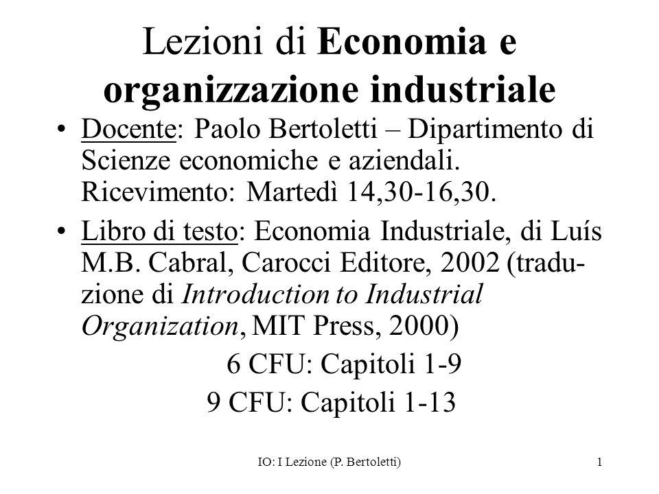 Lezioni di Economia e organizzazione industriale