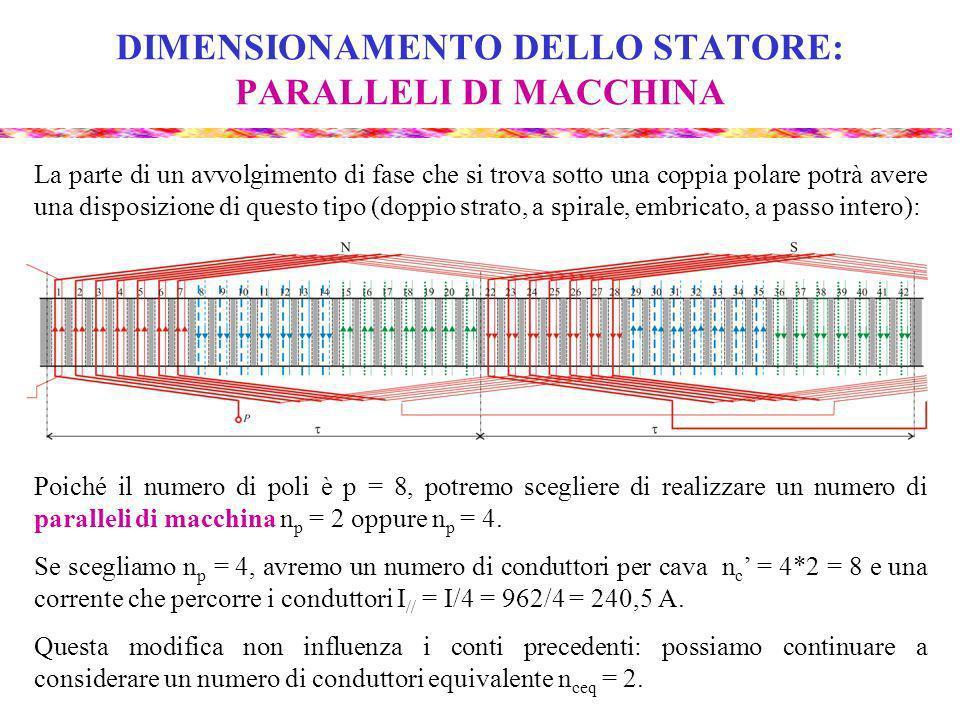 DIMENSIONAMENTO DELLO STATORE: PARALLELI DI MACCHINA