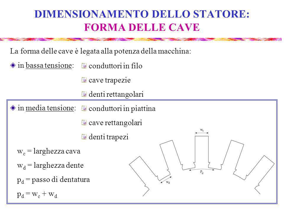 DIMENSIONAMENTO DELLO STATORE: FORMA DELLE CAVE