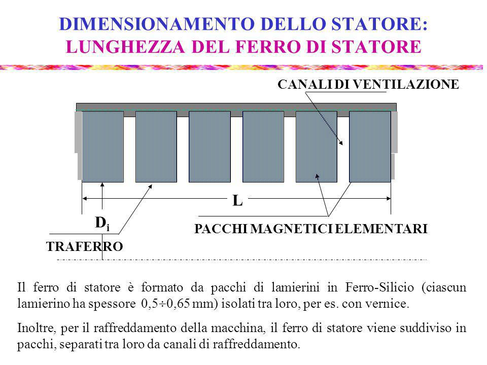 DIMENSIONAMENTO DELLO STATORE: LUNGHEZZA DEL FERRO DI STATORE