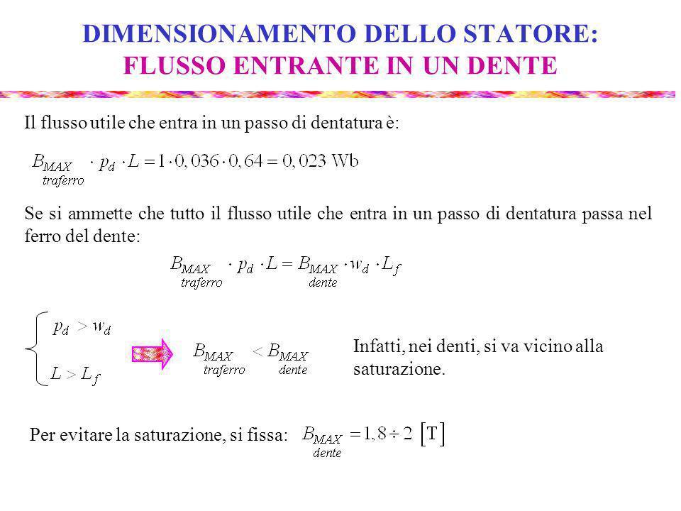 DIMENSIONAMENTO DELLO STATORE: FLUSSO ENTRANTE IN UN DENTE