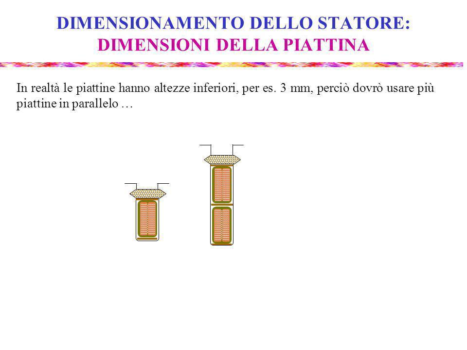 DIMENSIONAMENTO DELLO STATORE: DIMENSIONI DELLA PIATTINA