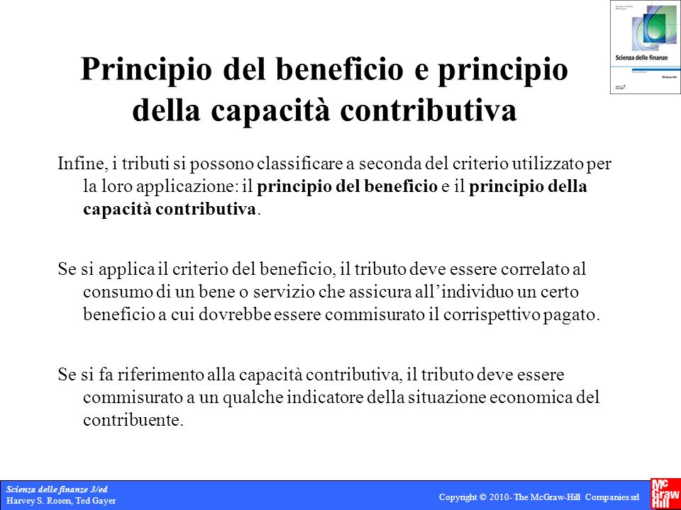 Principio del beneficio e principio della capacità contributiva