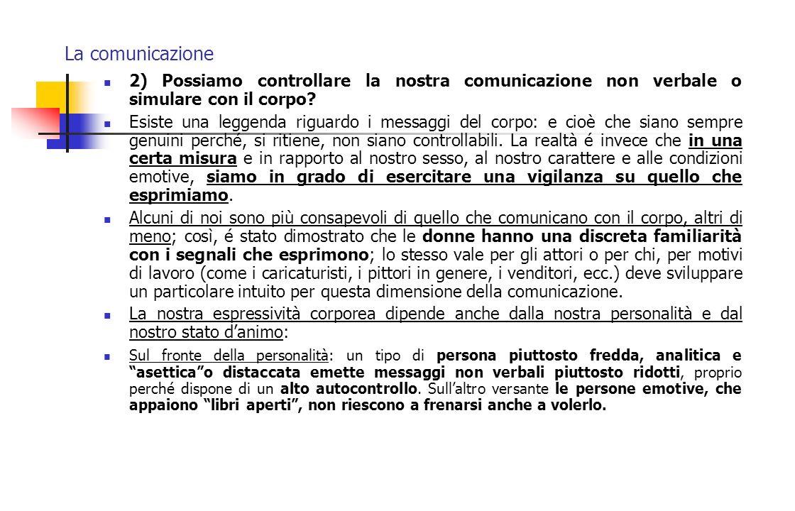 La comunicazione 2) Possiamo controllare la nostra comunicazione non verbale o simulare con il corpo