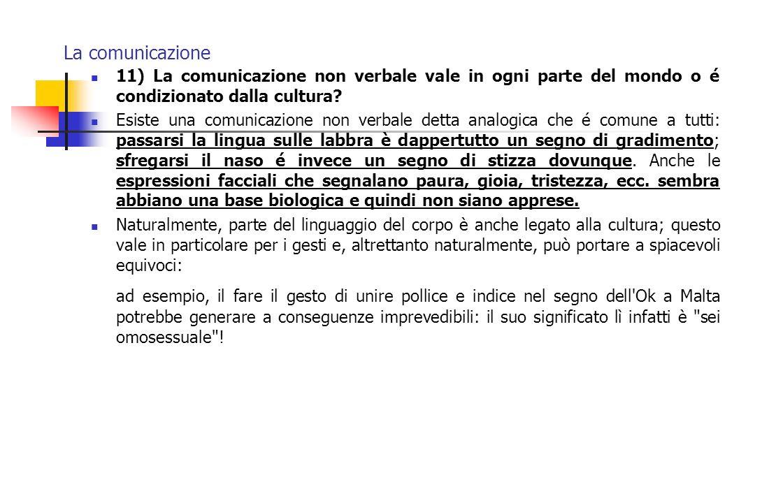 La comunicazione 11) La comunicazione non verbale vale in ogni parte del mondo o é condizionato dalla cultura
