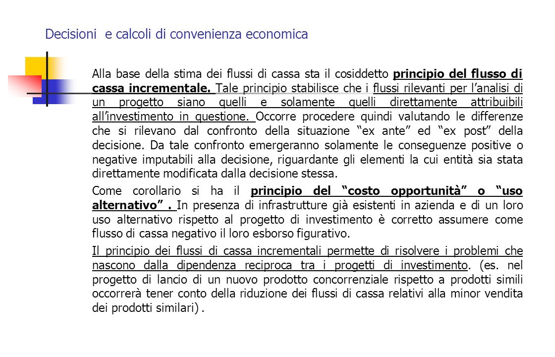 Decisioni e calcoli di convenienza economica