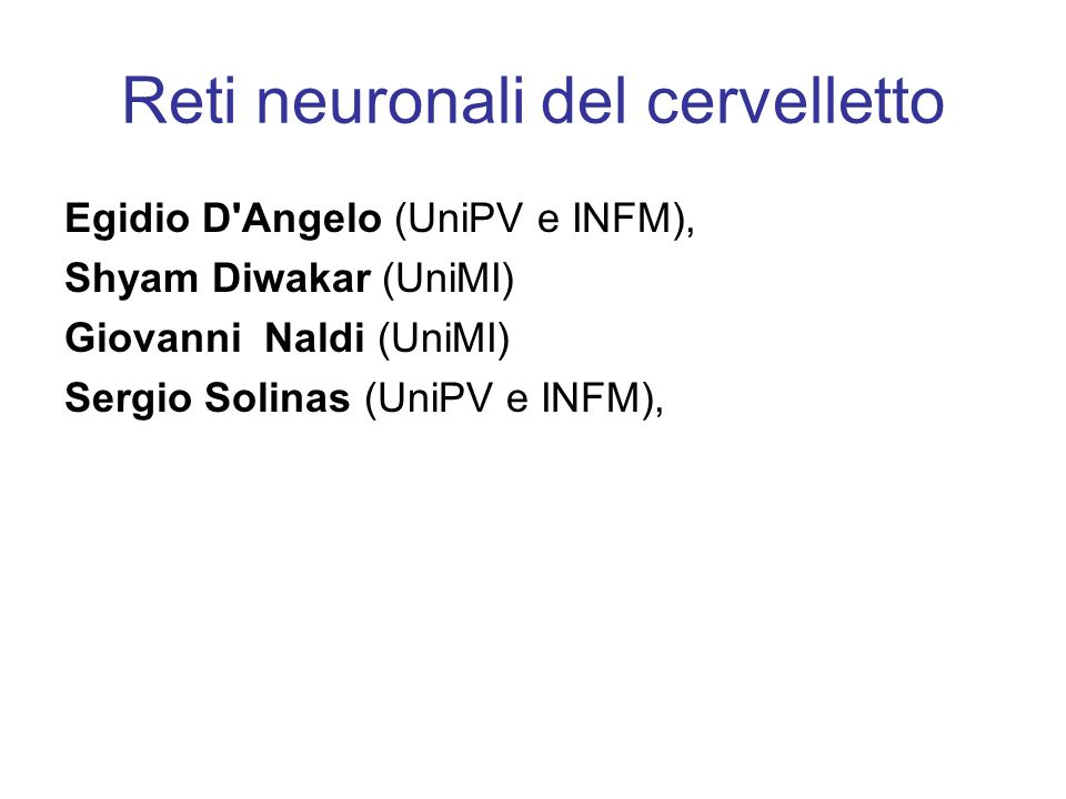 Reti neuronali del cervelletto