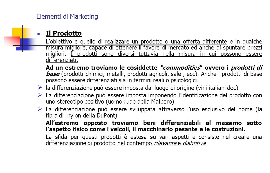 Elementi di Marketing Il Prodotto
