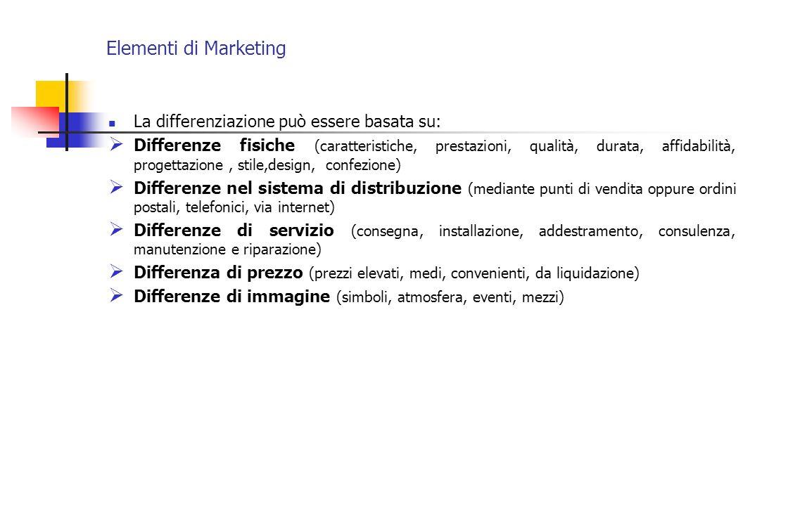 Elementi di Marketing La differenziazione può essere basata su: