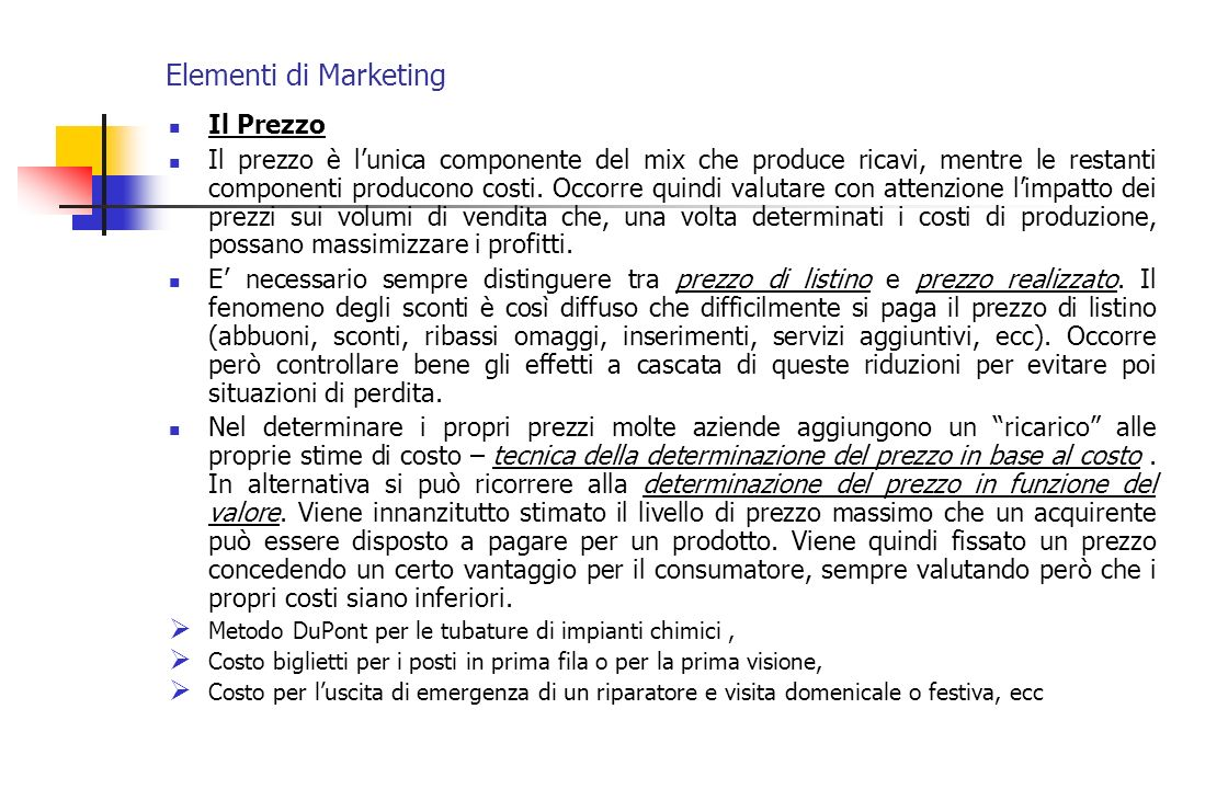 Elementi di Marketing Il Prezzo
