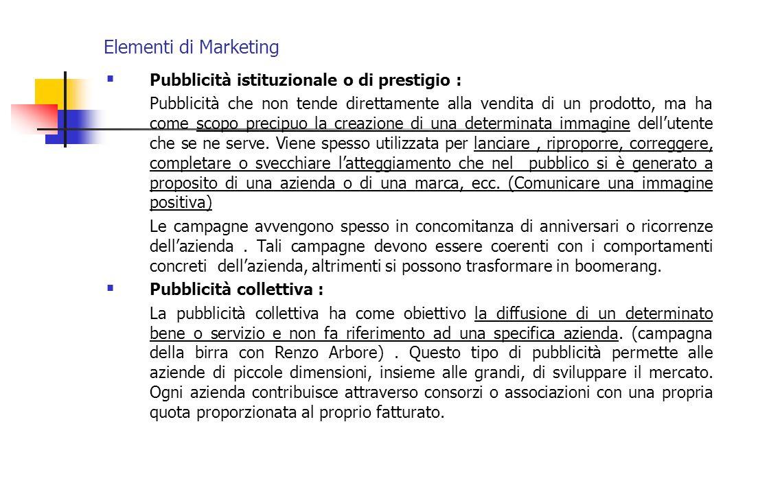 Elementi di Marketing Pubblicità istituzionale o di prestigio :