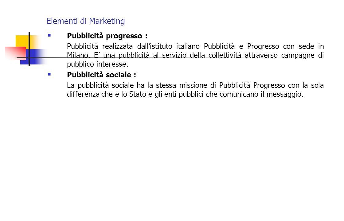 Elementi di Marketing Pubblicità progresso :