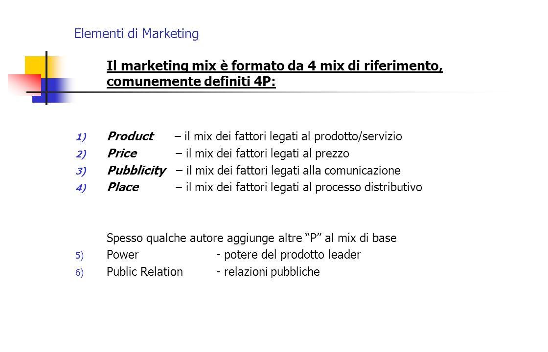 Elementi di MarketingIl marketing mix è formato da 4 mix di riferimento, comunemente definiti 4P: