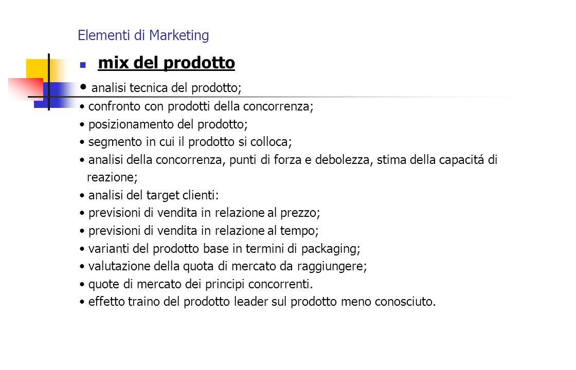 • analisi tecnica del prodotto;