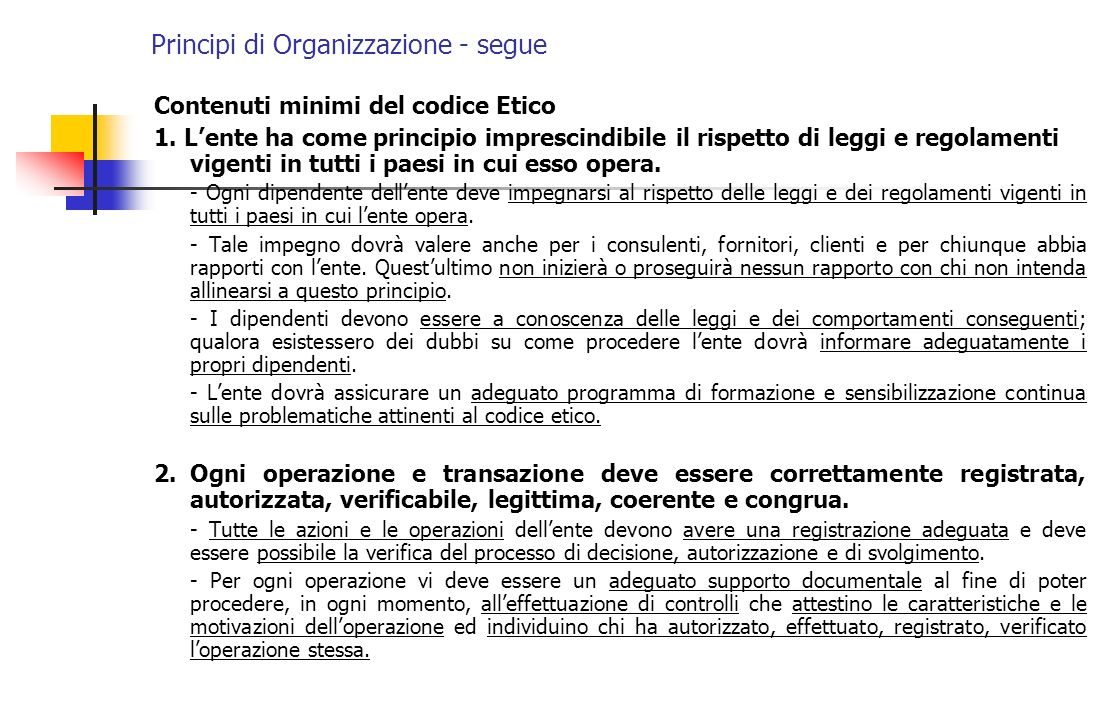 Principi di Organizzazione - segue