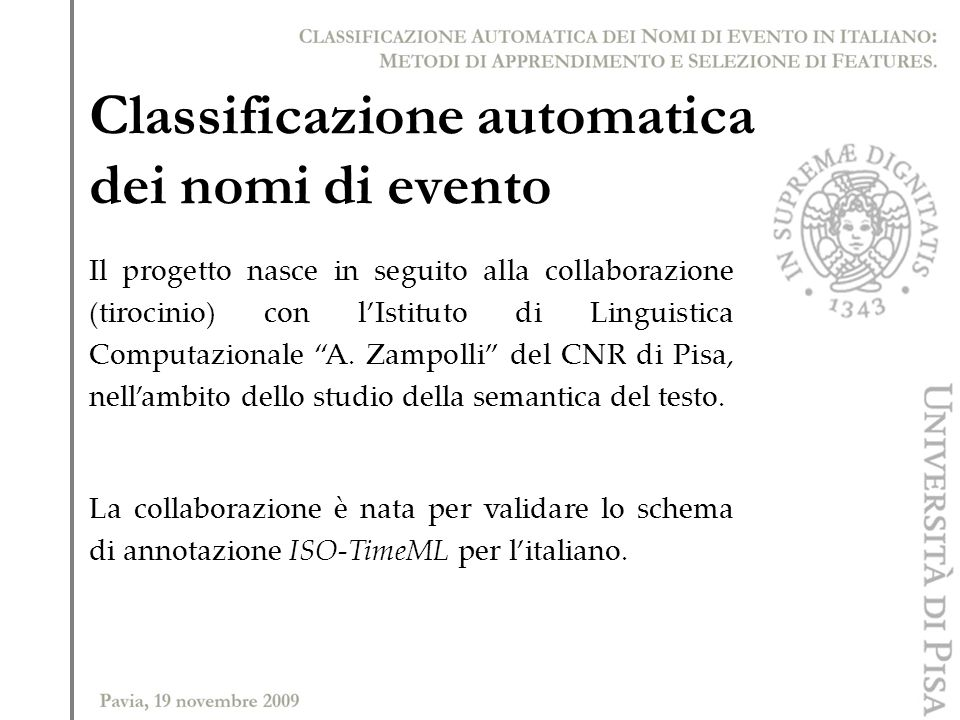 Classificazione automatica dei nomi di evento