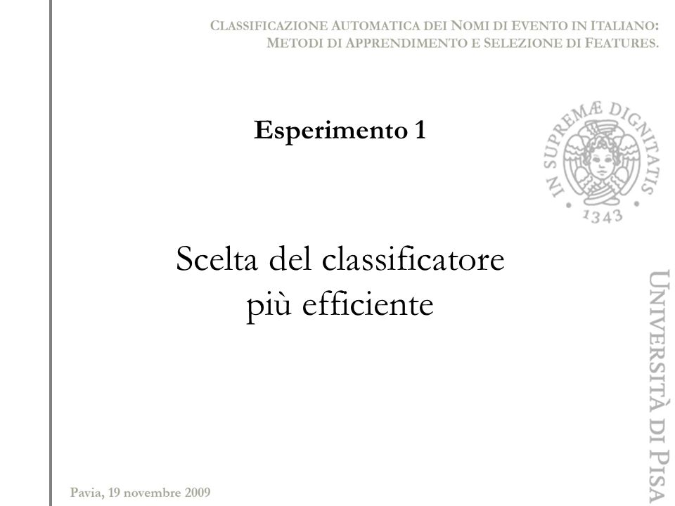 Scelta del classificatore
