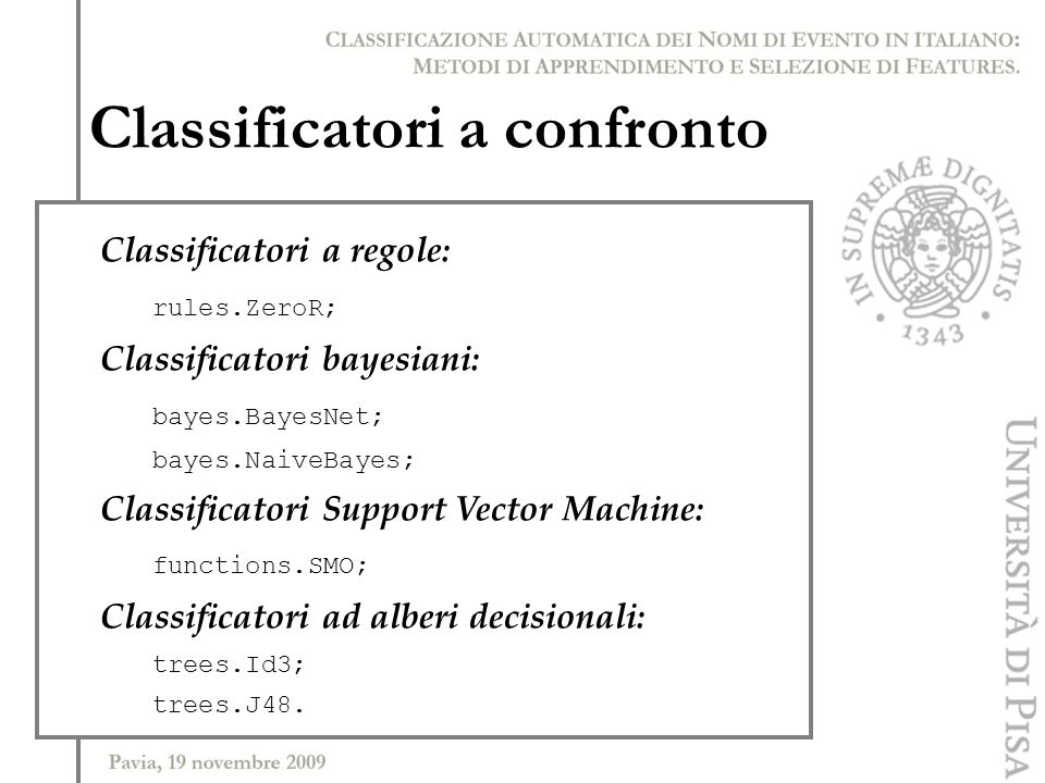 Classificatori a confronto