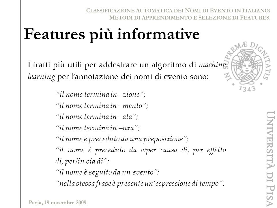 Features più informative