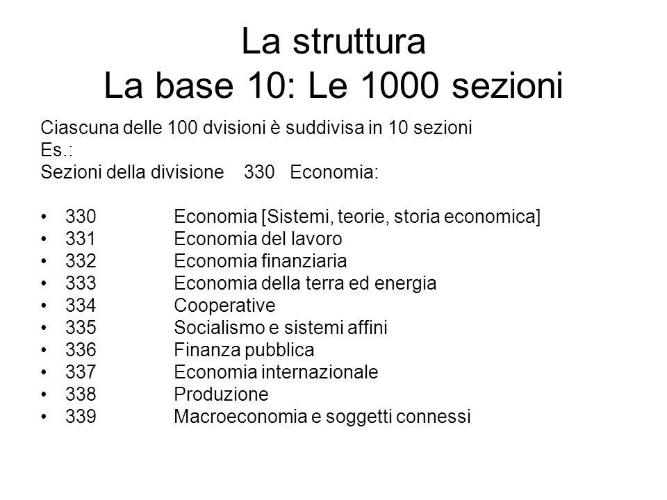 La struttura La base 10: Le 1000 sezioni