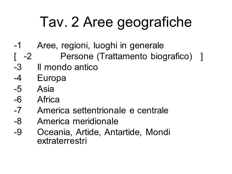 Tav. 2 Aree geografiche -1 Aree, regioni, luoghi in generale