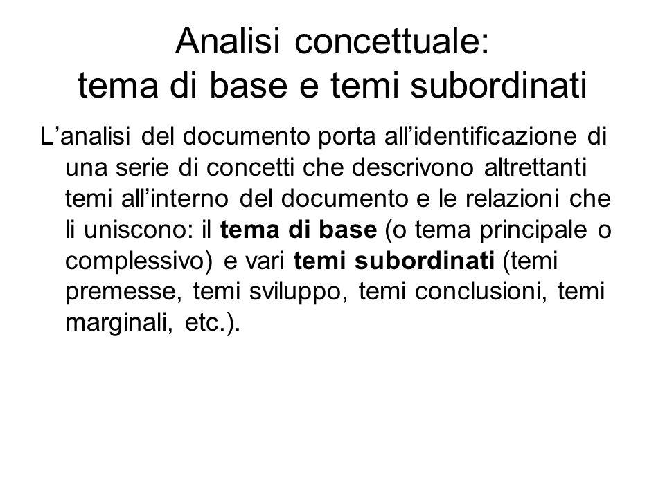 Analisi concettuale: tema di base e temi subordinati