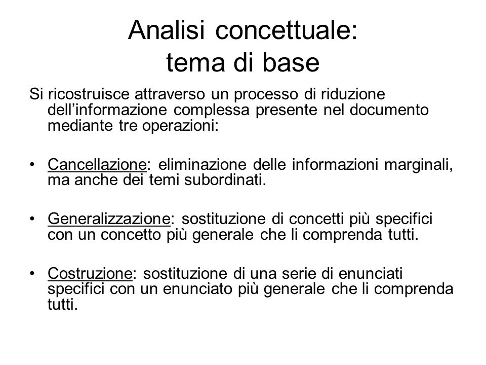 Analisi concettuale: tema di base